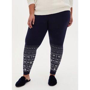🆕 Navy Skull Sweater Knit Fair Isle Legging 1X 14